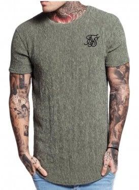 Ripple Curved Hem Tshirt Khaki
