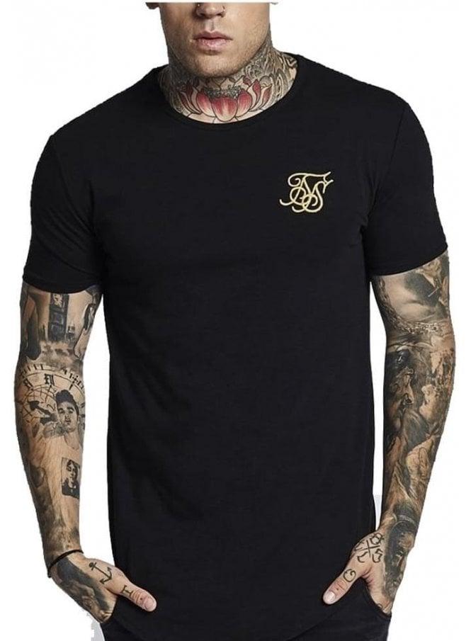 SIK SILK Short Sleeve Gym Tee Black Gold Black/gold