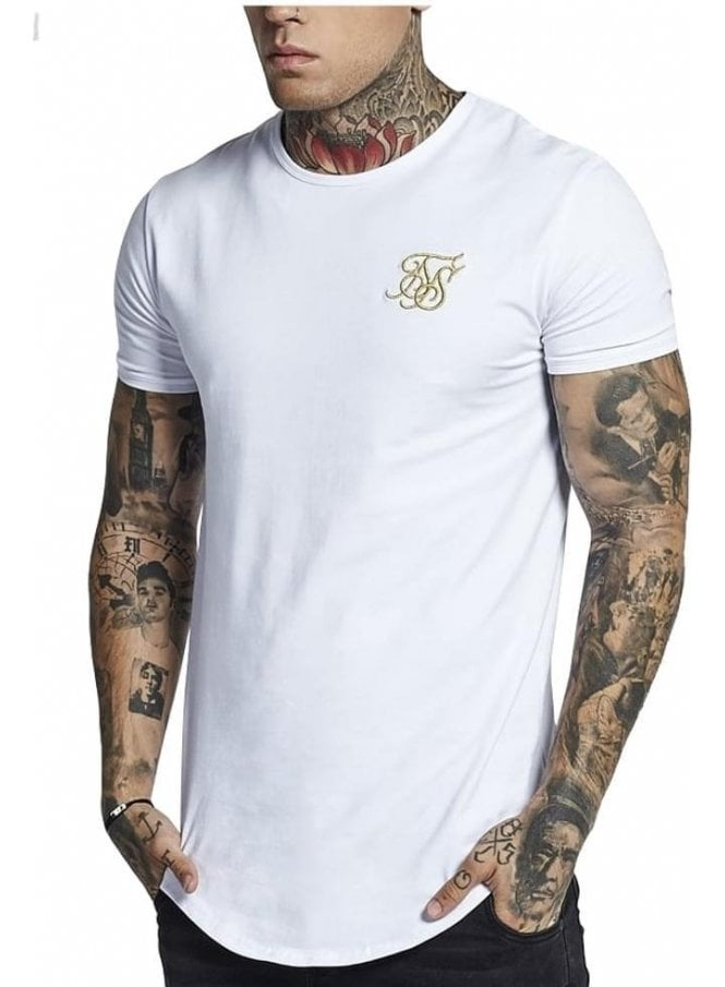 SIK SILK Short Sleeve Gym Tee White/gold