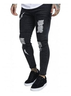 Skinny Distressed Denim Acid Black