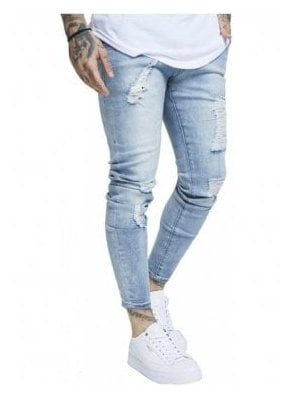Skinny Distressed Denim - Light Blue Wash