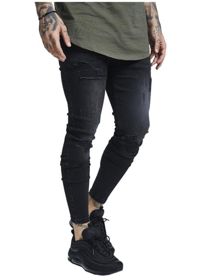 SIK SILK Skinny Distressed Denim Ripped Jean Washed Black