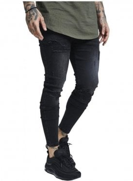 Skinny Distressed Denim Ripped Jean Washed Black
