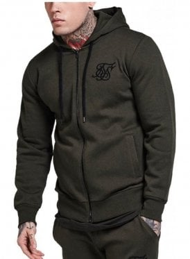 Zip Through Hooded Top Khaki