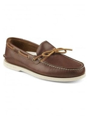 A/O 1-Eye Leather Boating Shoe Tan