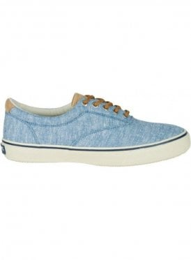 Striper Ll Linen Canvas Trainer Linen Blue