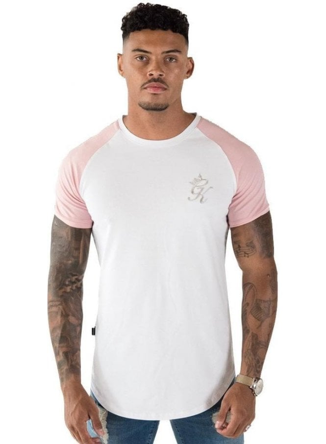 GYM KING Taped Contrast Tee Shirt White/peachskin