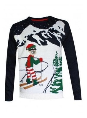 Alberta Skier Ski-man Elf Christmas Knitted Jumper Navy