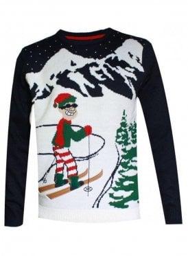 Alberta Skier Ski-man Elf Christmas Knitted Jumper Navy