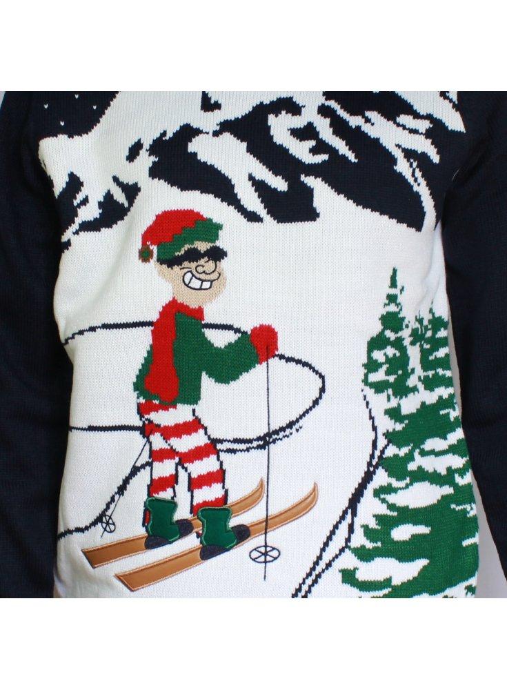 Knitting Pattern For Elf Jumper : Alberta Skier Ski-man Elf Christmas Knitted Jumper Navy