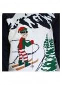 THREADBARE Alberta Skier Ski-man Elf Christmas Knitted Jumper Navy