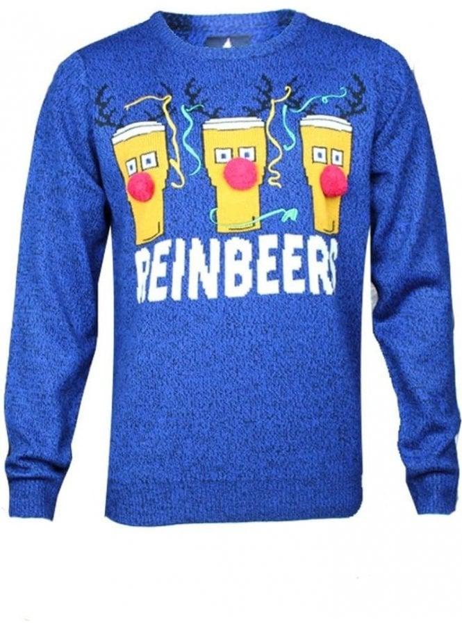 THREADBARE Christmas Reinbeers Novelty 3d Knitwear Jumper Cobalt/black Twist