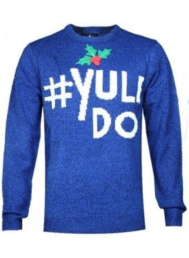 Christmas Yule Do Novelty Knitwear 3d Jumper Cobalt/black Twist