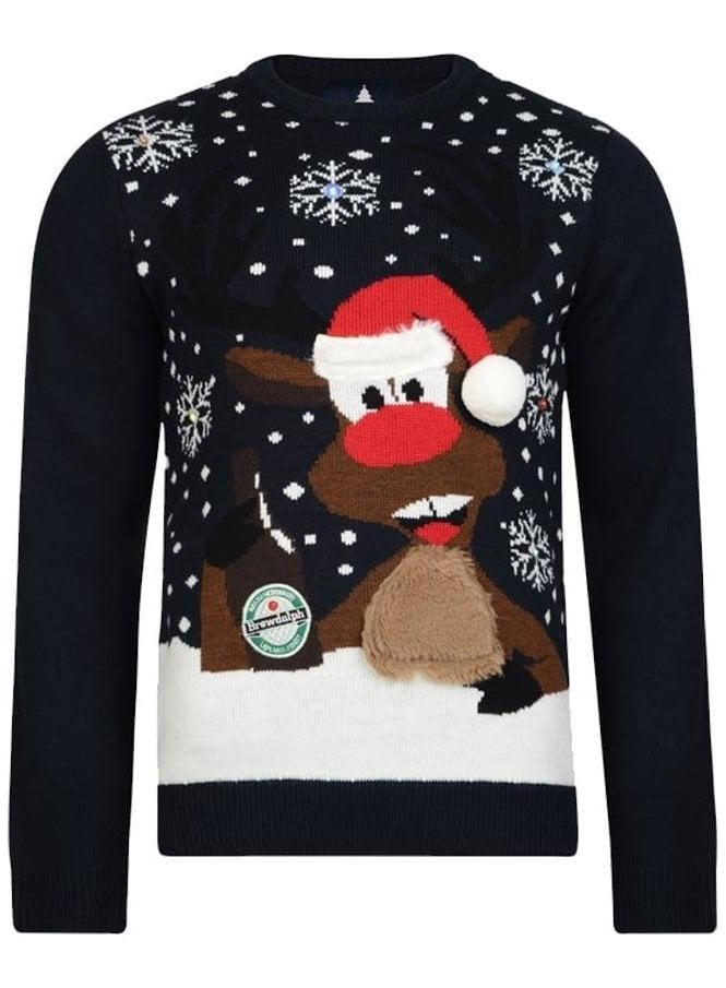 THREADBARE Light Up Brewdolph Novelty Pom Pom Knit Deep Navy