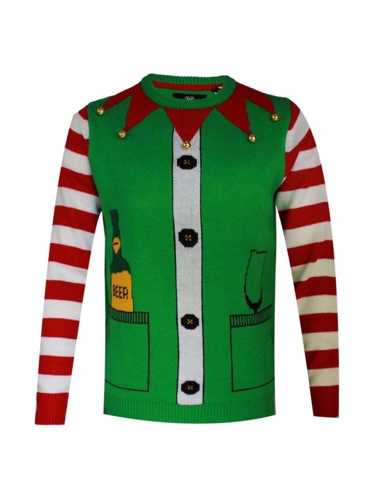Novelty Christmas Elf Xmas Jumper Green