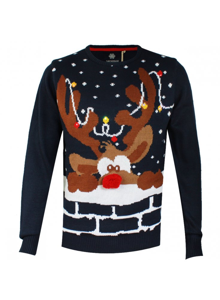 Novelty Christmas Jumper Rudolph Rednose Antler Reindeer LED Navy