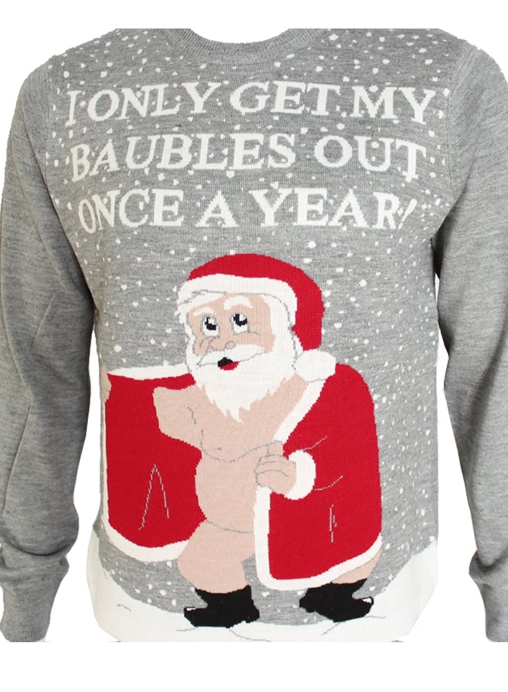d282afe83 Threadbare Novelty Rude Santa Christmas Jumper Swe Gravel Marl