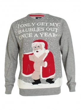 Novelty Rude Santa Christmas Jumper Swe Gravel Marl