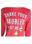 THREADBARE Shake Your Baubles Xmas Novelty Sweater Red