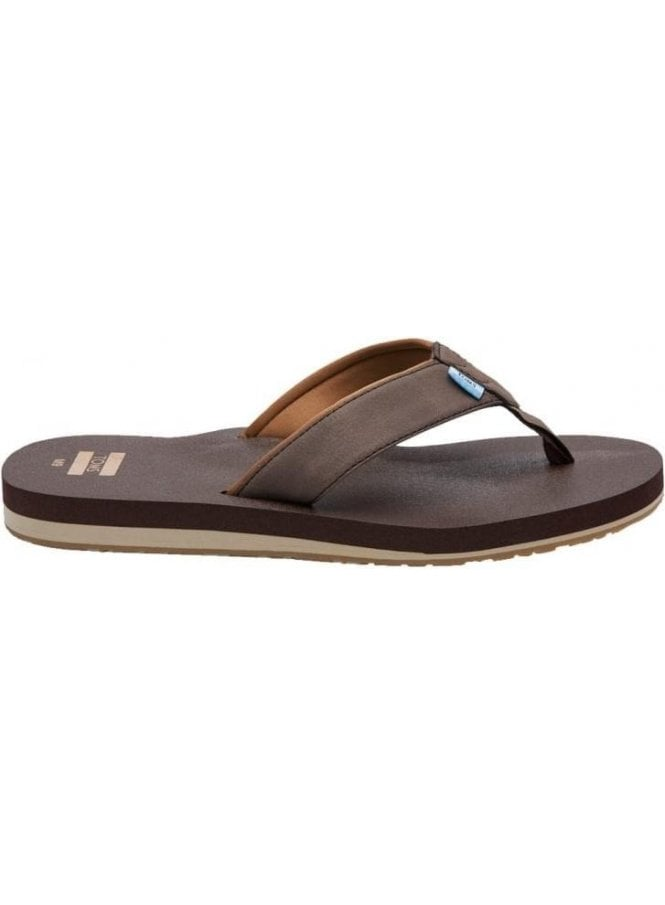 TOMS Carilo Toe Post Extra Cushy Flip Flop Chocolate Brown