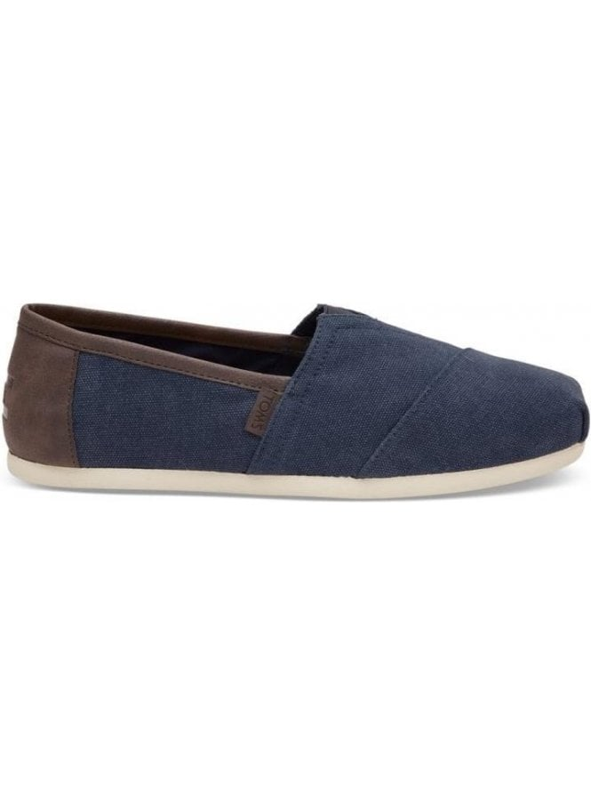 TOMS Classic Canvas With Trim Slip On Casual Shoe Navy Washed