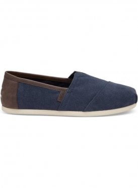 Classic Canvas With Trim Slip On Casual Shoe Navy Washed
