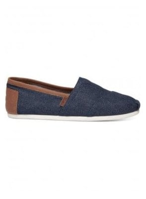 Classic Indigo Denim Brown Leather Trim Classic Pumps