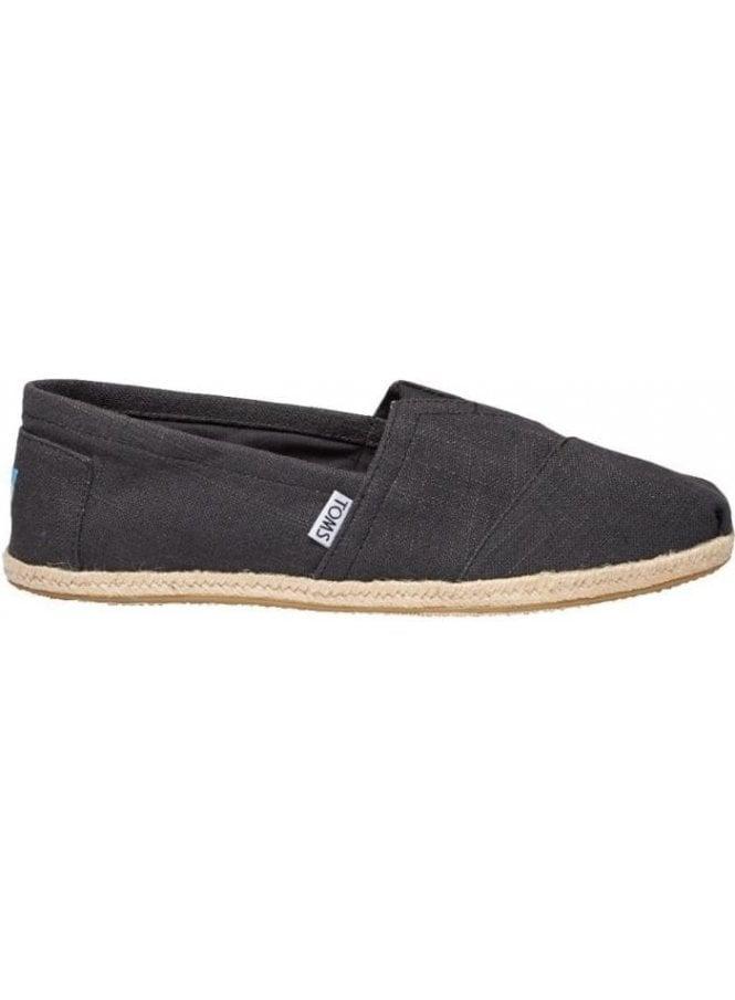 TOMS Classic Linen Rope Slip On Footwear Black Linen (Vegan)