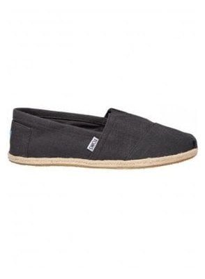 Classic Linen Rope Slip On Footwear Black Linen (Vegan)