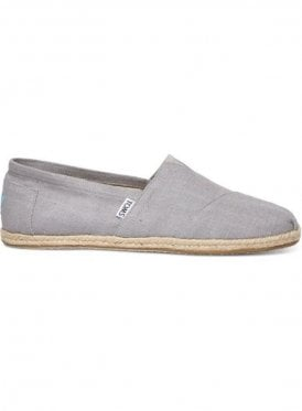 Classic Linen Rope Sole Slip On Footwear Grey