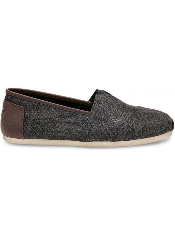 TOMS Classic Slip On Trim Detail Footwear Charcoal Herringbone/trim