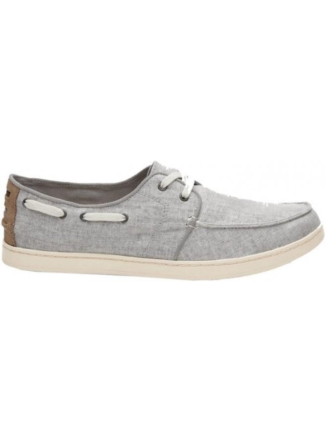 TOMS Culver Linen Laced Boating Deck Shoe Drizzle Grey