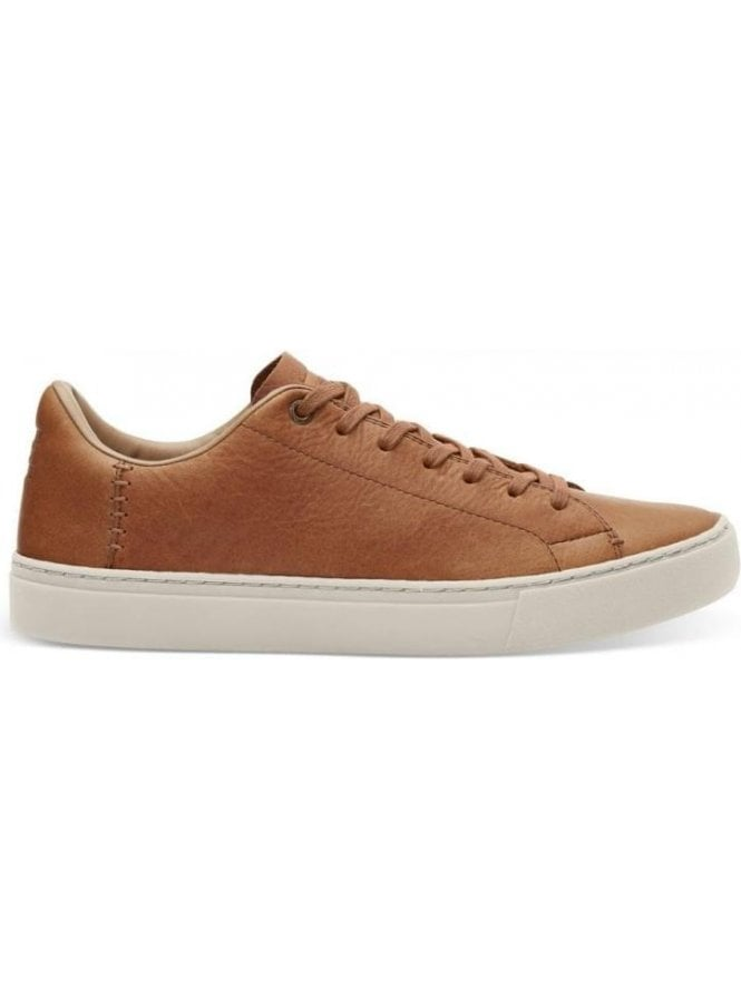 TOMS Lenox Leather Lace Up Trainer Shoe Dark Toffee