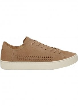 Lenox Suede And Woven Panel Trainer Shoe Toffee