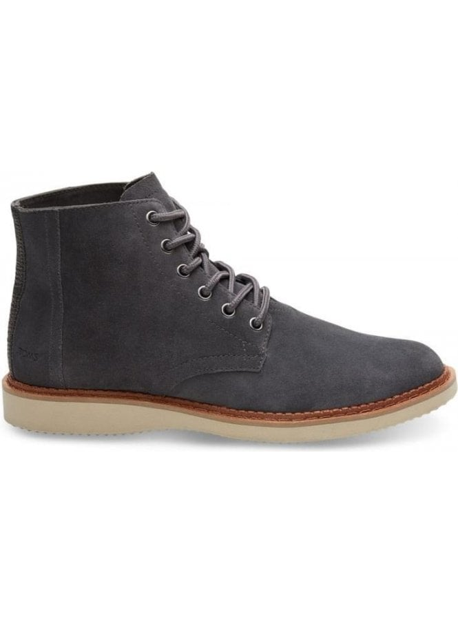 TOMS Porter Suede Laced Up Boot Forged Iron Grey Suede