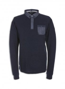 Moss Denim Trim Long Sleeve Polo Navy