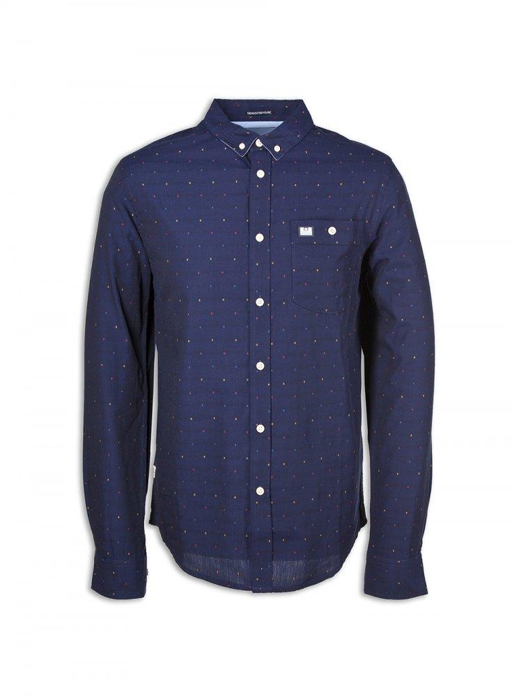 weekend offender nice long sleeve shirt navy