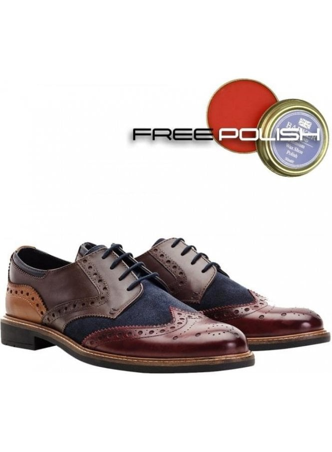 GOODWIN SMITH Worsthorne Leather And Suede Mix Der Brown/tan/navy/burgundy